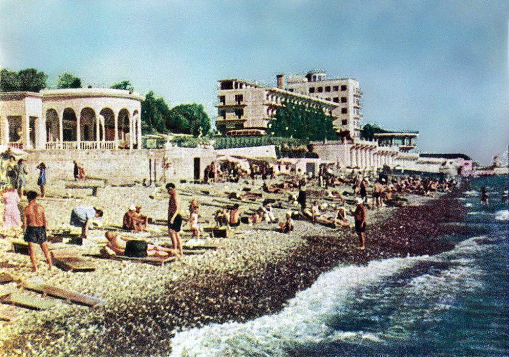 Сочинский пляж в 1952 или 1953 г.