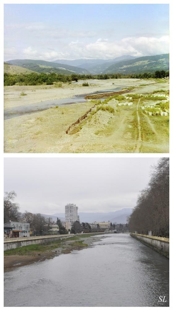 Старое фото С.М.Прокудина-Горского. Река Сочинка до того, как сделали набережную нередко выходила из берегов, затапливая окрестности.